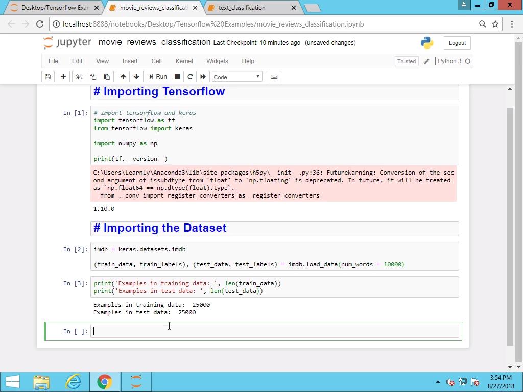 Importing Tensorflow and Dataset