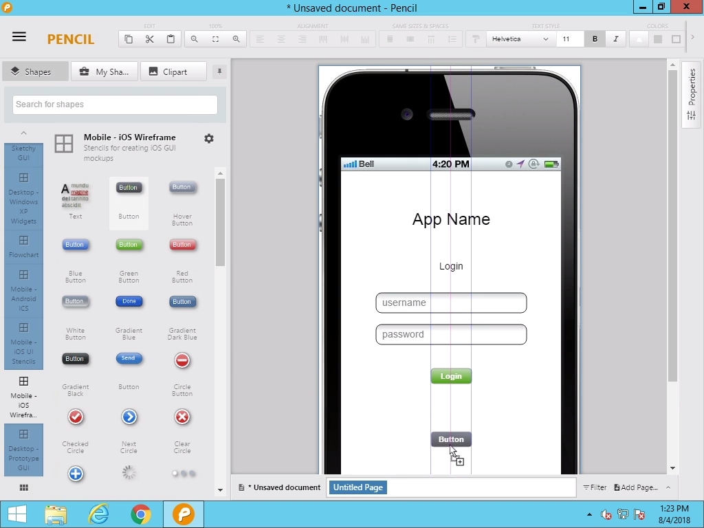 Creating the first page: Login