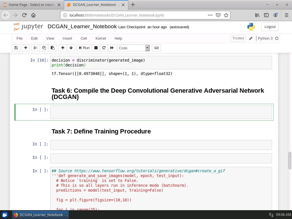 Compile the Deep Convolutional Generative Adversarial Network (DCGAN)