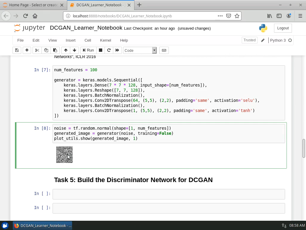 Build the Generator Network for DCGAN