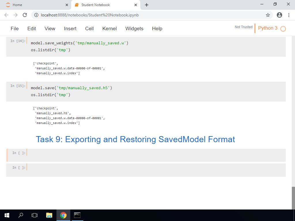 Exporting and Restoring Saved Model Format